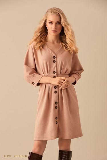 Платье с объемными рукавами из бежевой костюмной ткани  9450074525