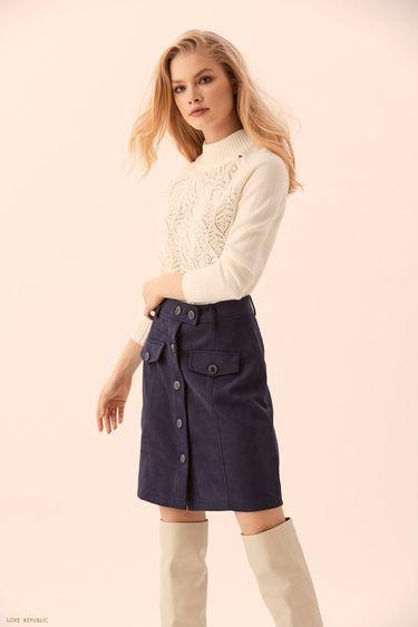 Тёмно-синяя юбка миди с накладными карманами 9450076225