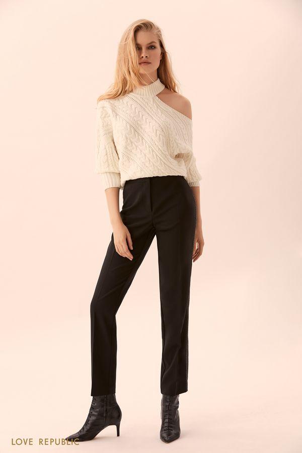Прямые чёрные брюки с белой прострочкой 9450062732-50