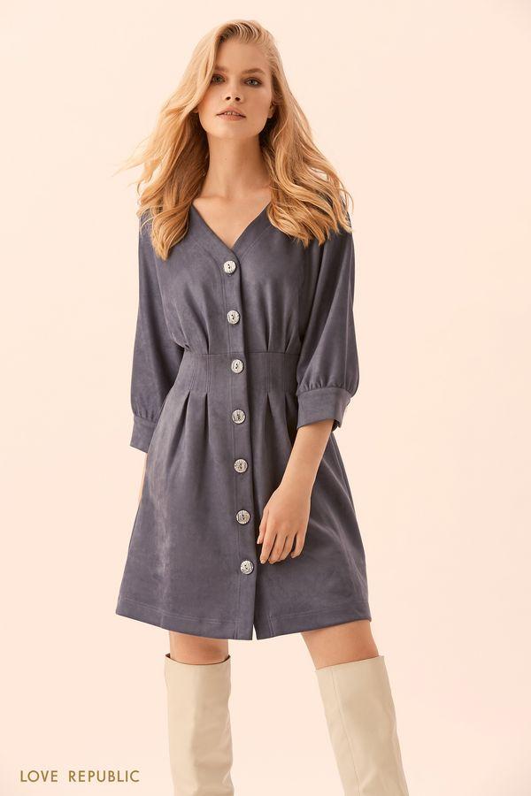 Платье длины мини цвета индиго 9450065525-48