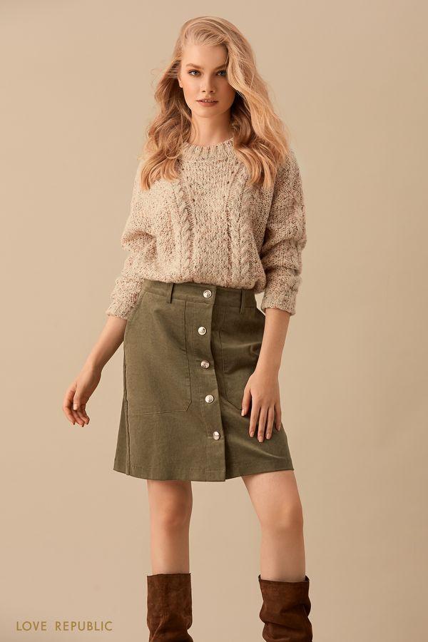 Короткая плотная юбка зелёного цвета на пуговицах 9450071222-13