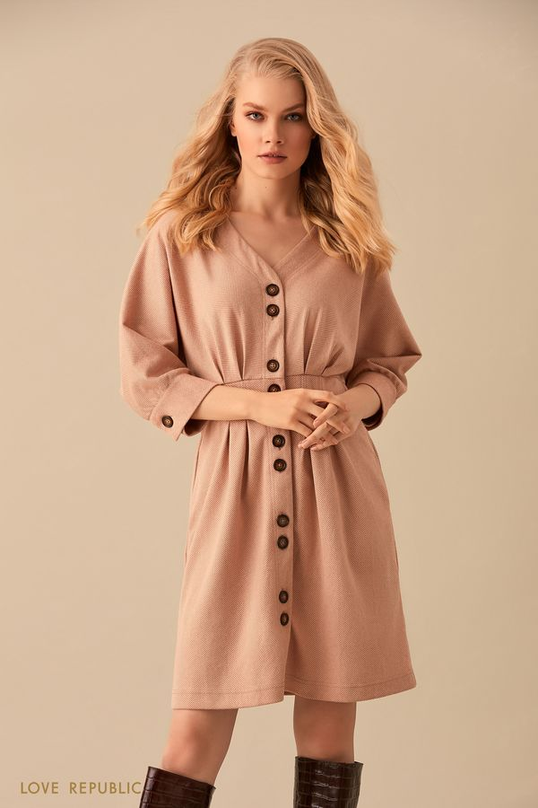 Платье с объемными рукавами из бежевой костюмной ткани 9450074525-62