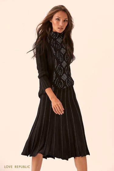 Свитер чёрного цвета с высоким воротником и блестящим декором 9450148844