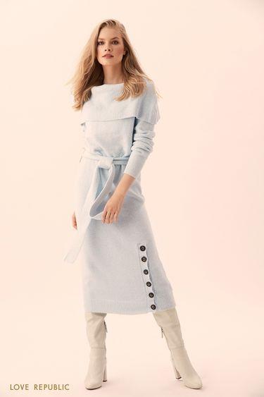 Длинное платье голубого цвета с крупными пуговицами 9450151533
