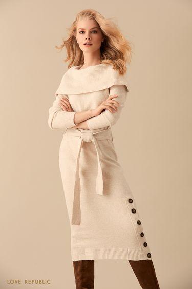 Длинное платье кремового цвета с крупными пуговицами 9450151533