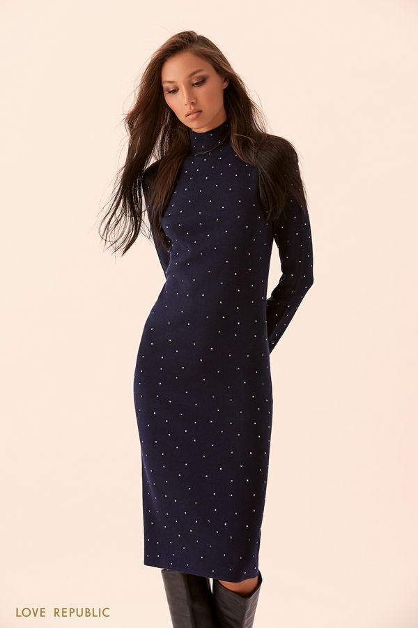 Тёмно-синее платье миди с металлическим декором 9450133522-47