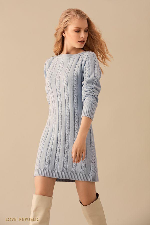Трикотажное голубое мини-платье фактурной вязки 9450139524-41
