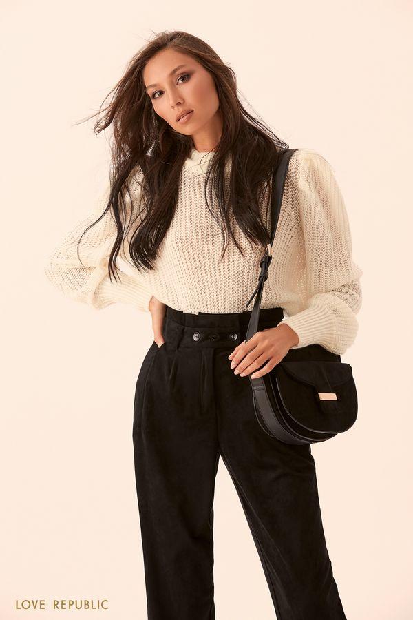 Трикотажный свитер молочного цвета 9450140837-60