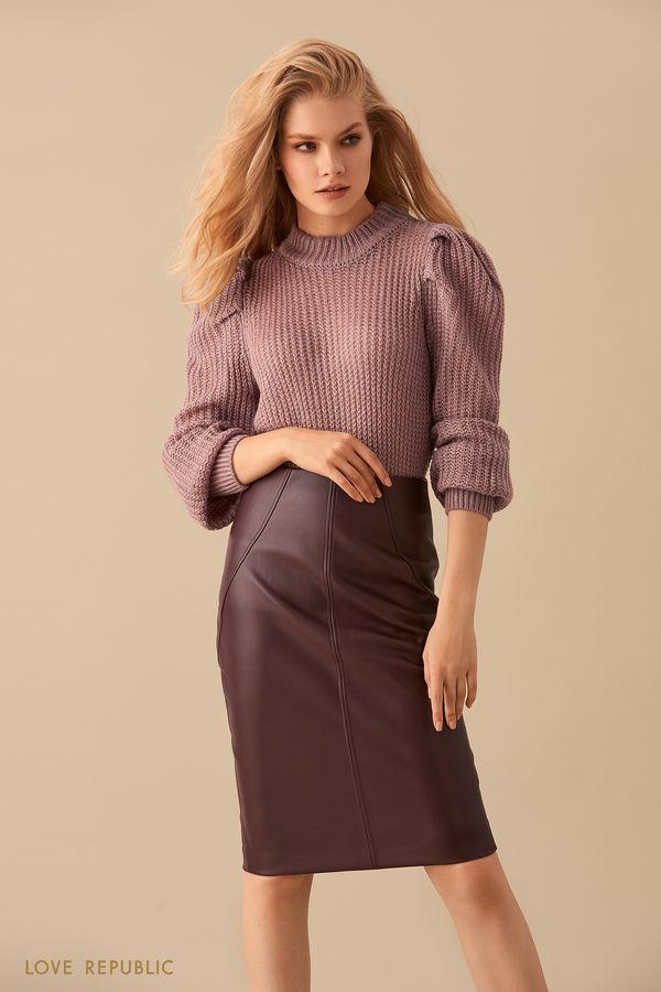 Трикотажный свитер сиреневого цвета 9450140837-81