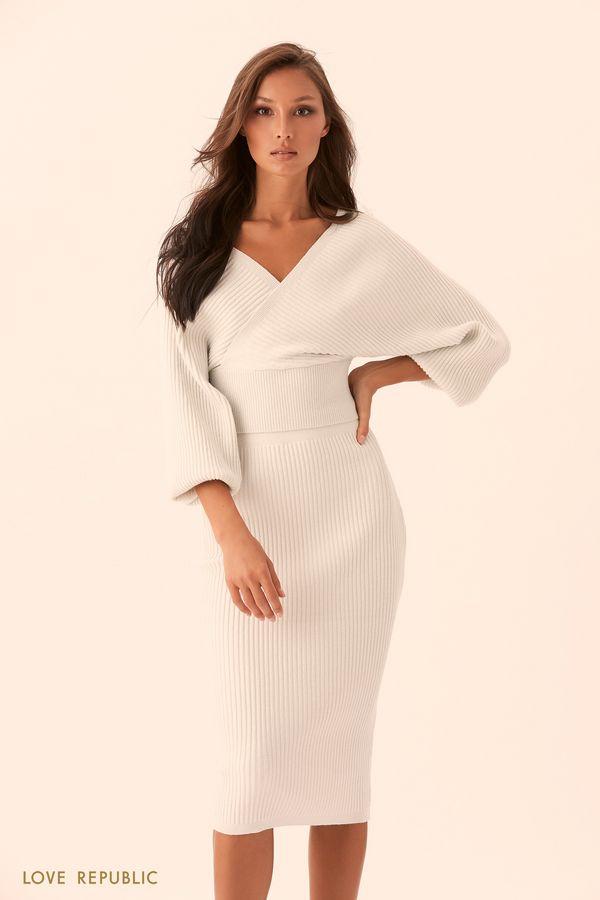 Трикотажная фиолетовая юбка в рубчик с люрексом 9450153230-82