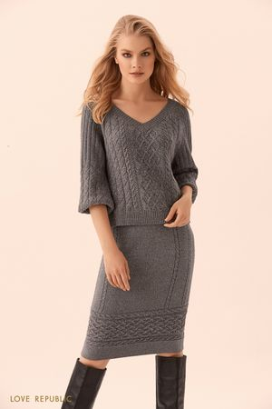 Трикотажная юбка миди тёмно-серого цвета с полосой фактурной вязки LOVE REPUBLIC