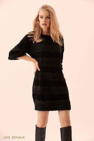 Платье-свитер комбинированной вязки чёрного цвета фото