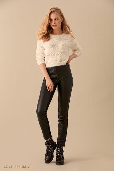 Узкие брюки с декоративными швами 9450312712