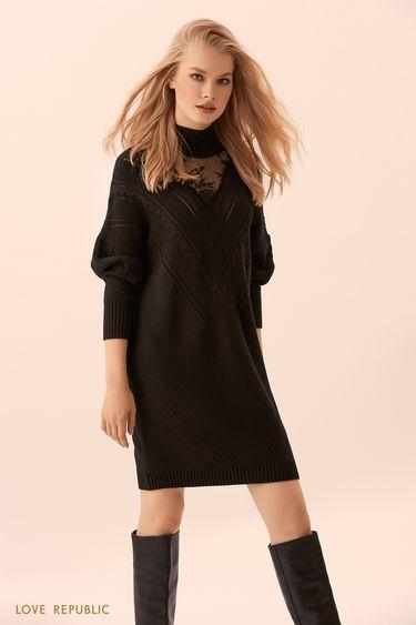 Трикотажное чёрное платье-свитер с кружевом 9450381571