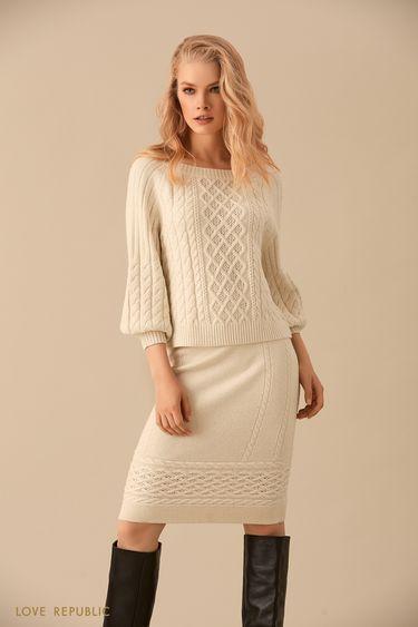 Трикотажная юбка миди ванильного цвета с полосой фактурной вязки  9450386201