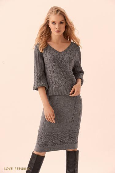 Трикотажная юбка миди тёмно-серого цвета с полосой фактурной вязки 9450386201