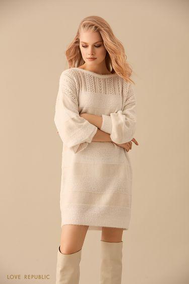 Платье-свитер комбинированной вязки цвета слоновой кости 9450392573