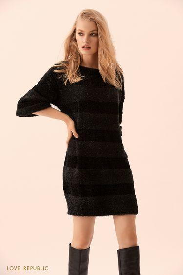 Платье-свитер комбинированной вязки чёрного цвета 9450392573
