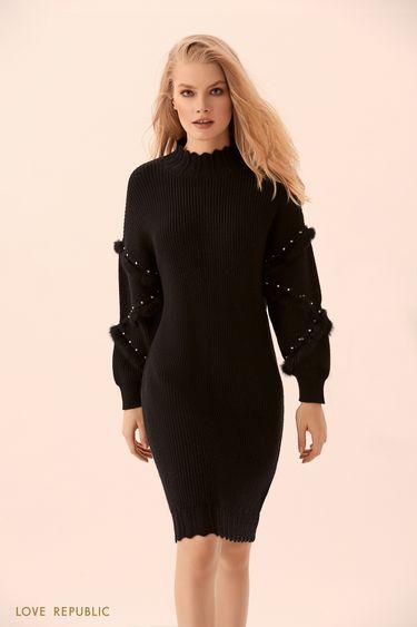 Чёрное трикотажное платье с декором из страз  9450394503