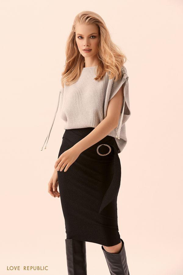 Трикотажная юбка-карандаш с тканым поясом 9450391203-50
