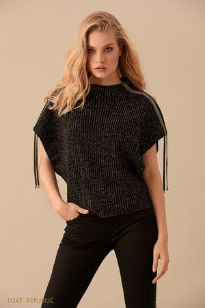 Джемпер чёрного цвета скороткими рукавами исеребристым декором