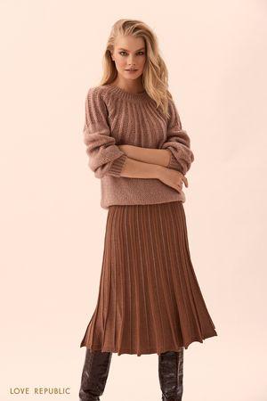 Трикотожная плиссированная юбка с люрексом фото
