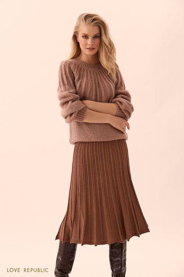 Трикотожная плиссированная юбка с люрексом 9450404210