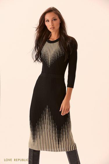 Трикотажное платье с блестящими полосками  9450414509
