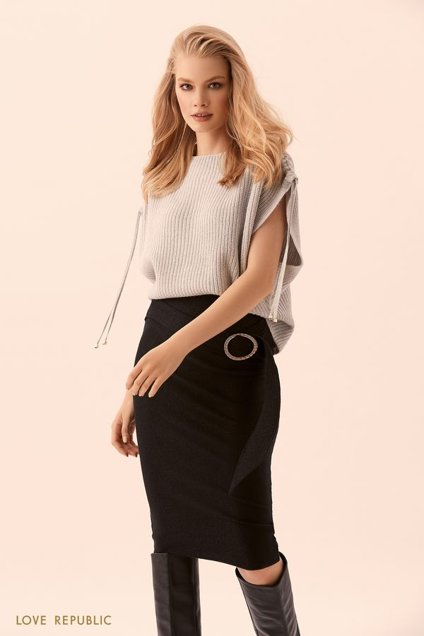 Джемпер цвета серый меланж скороткими рукавами исеребристым декором 94504030874-33