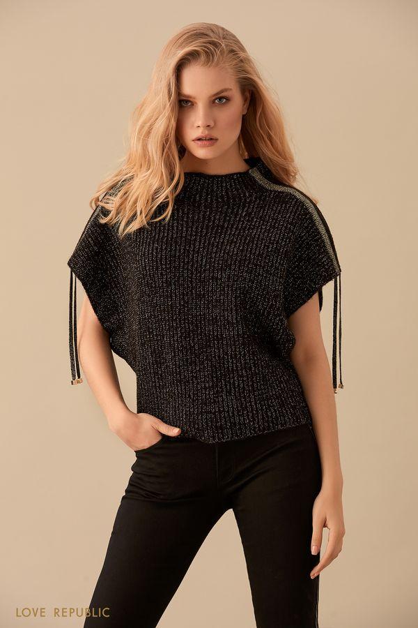Джемпер чёрного цвета скороткими рукавами исеребристым декором 94504030874-50