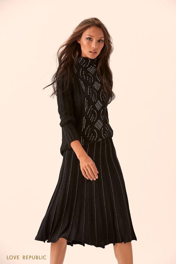 Плиссированная чёрная юбка из материала с люрексом 9450404210-50