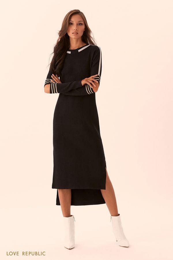 Черное трикотажное платье 9450405575-38