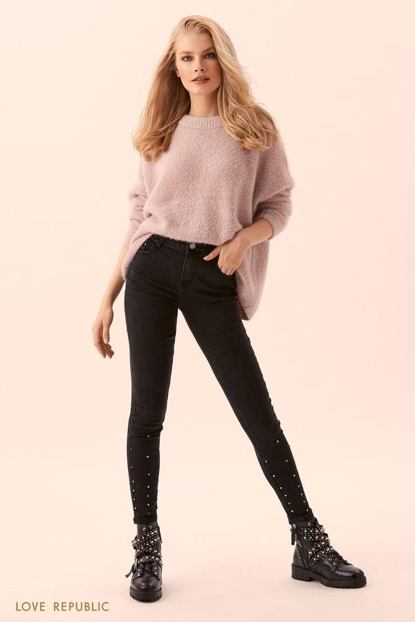 Узкие джинсы с металлическим декором 9450441701-50