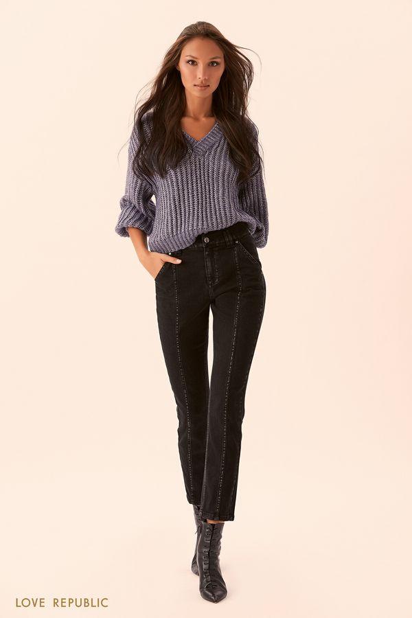 Джинсовые брюки с контрастными швами 9450444704-109