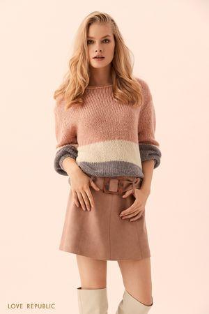 Короткая юбка цвета капучино c пряжкой на поясе