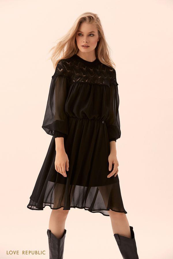 Платье со вставкой извязаного кружева 9450502552-50