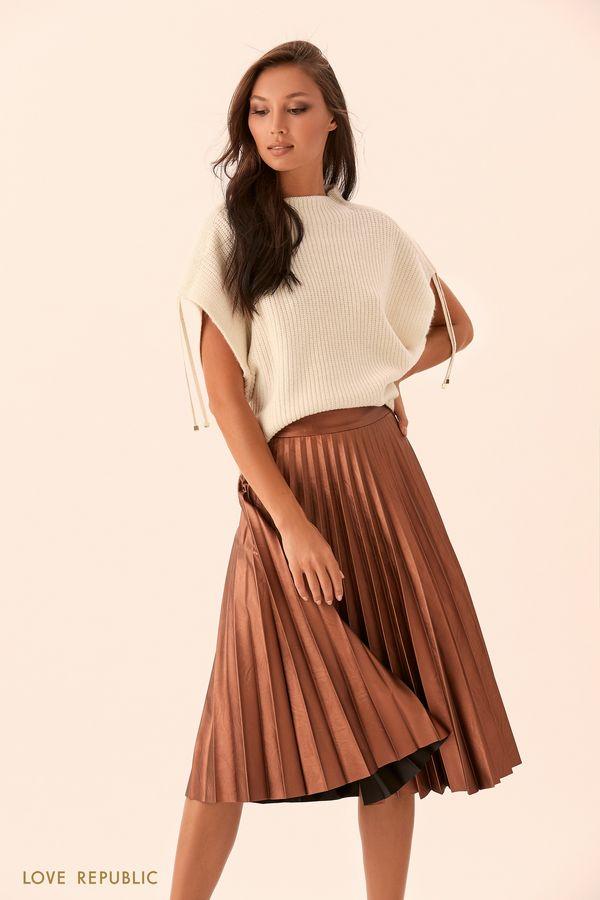 Плиссированная юбка из блестящей искусственной кожи 9450562232-67