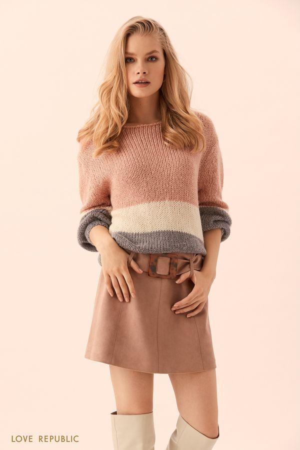 Короткая юбка цвета капучино c пряжкой на поясе 9450566233-66