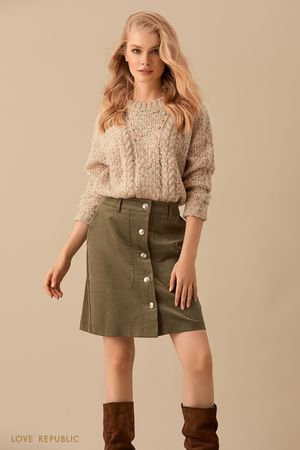 Шерстяной свитер из трикотажа фактурной вязки