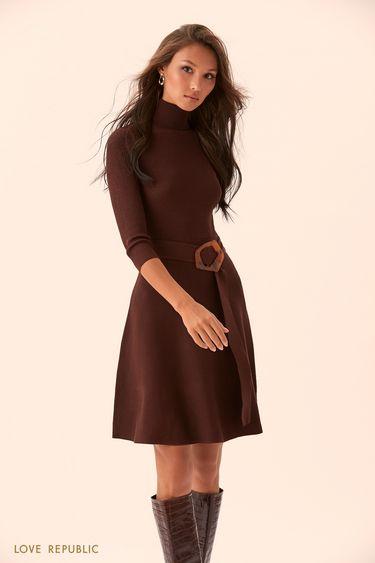 Платье миди с поясом и пряжкой 9450633554