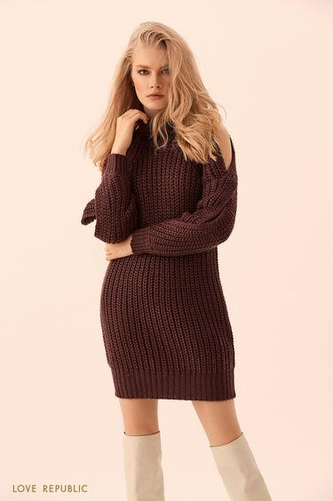 Платье-свитер фактурной вязки 9450642557
