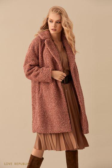 Короткое однобортное пальто из ткани с ворсом 9450722132