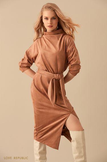 Платье из бархатистой ткани с широким воротником-стойкой 9450755561