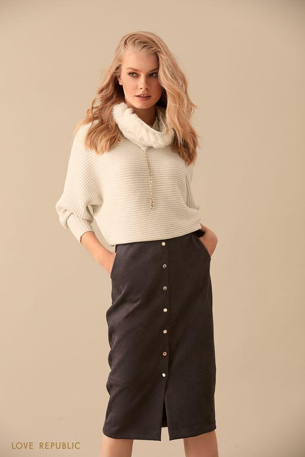 Тёмно-серая юбка миди с поясом 9450751211-37
