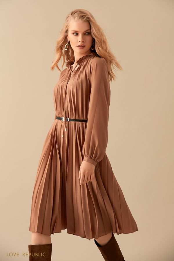 Песочное платье из плиссированной ткани с ремнём 9450754516-63