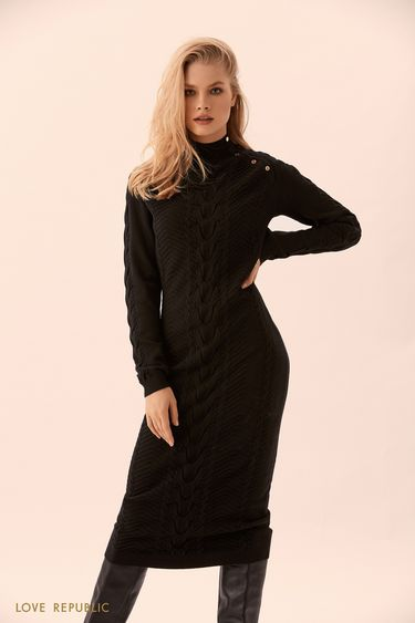 Чёрное трикотажное платье длиной ниже колена 9450891514
