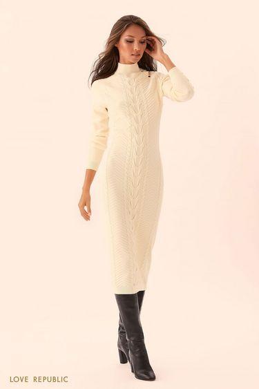 Молочное трикотажное платье длиной ниже колена 9450891514