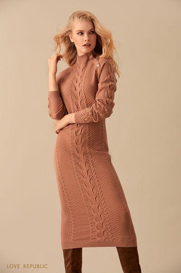 Песочное трикотажное платье длиной ниже колена 9450891514
