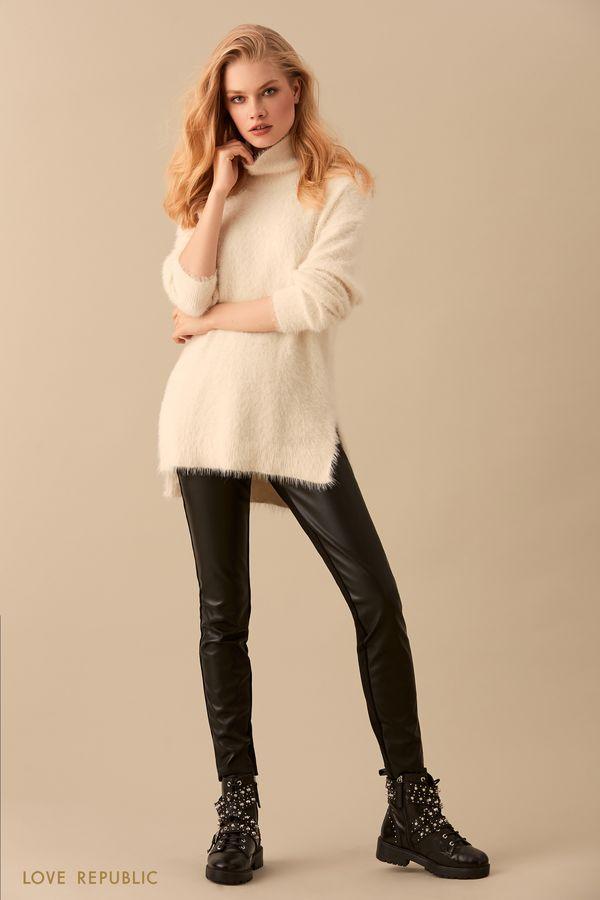 Чёрный удлинённый свитер с мягким ворсом 9450890829-50