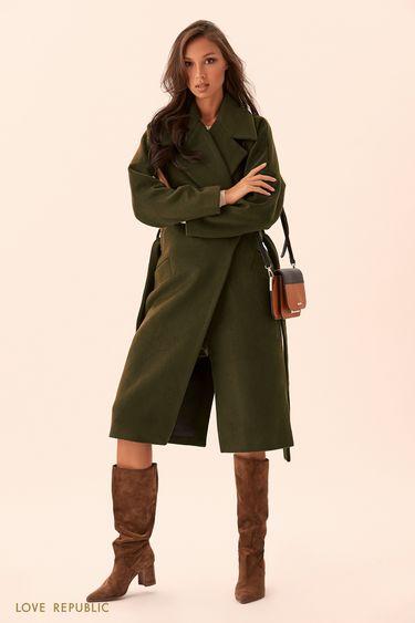 Пальто-халат цвета хаки с поясом 9450971106